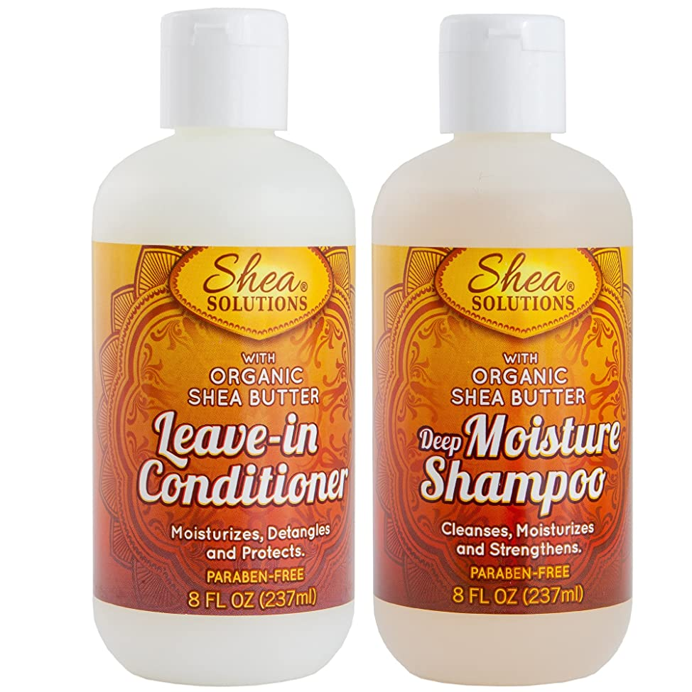 Organic Shea Butter Shampoo & Conditioner | Everyday Deep Cleanses, Repairs, Moisturizes, Strengthens, Detangles & Protects | Paraben-free | 8 Oz Travel Pack (Shampoo & Conditioner)