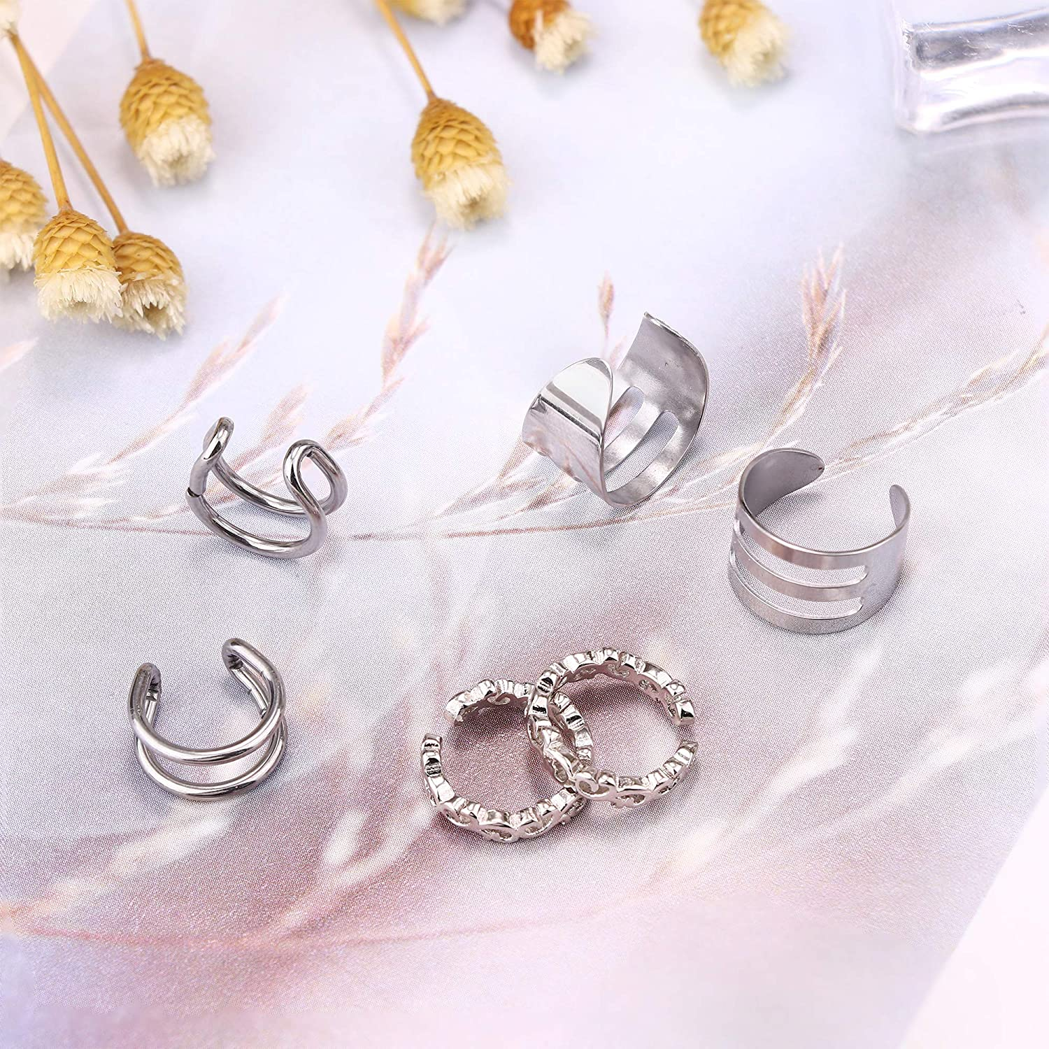 Hanpabum 23Pcs Stainless Steel Ear Cuff Fake Lip Helix Cartilage Clip On Wrap Earrings Fake Nose Ring Non-Piercing Adjustable