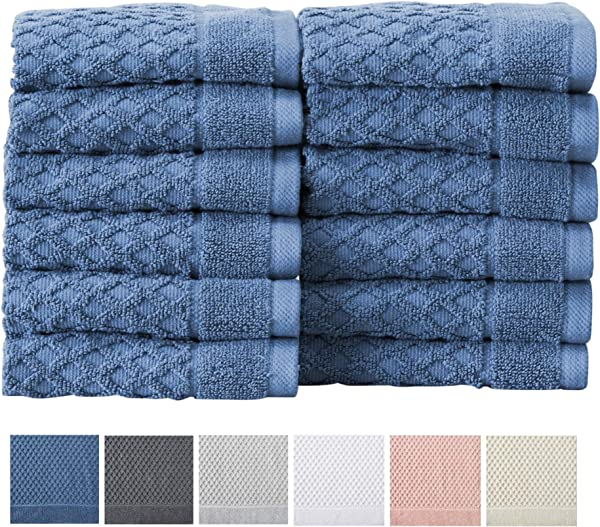 12 Pack Washcloth Set 100 Cotton Absorbent Quick Dry Textured Washcloth Towels Wash Cloths For Bathrooms Grayson Collection Wash 12pk Blue