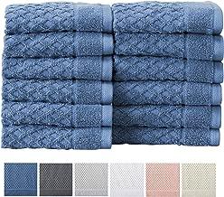 Great Bay Home - Toallas de baño 100% algodón Toallas de baño absorbentes de Secado rápido con Textura. Colección Grayson, Azul, Washcloths (12-Pack), 12