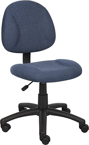 Boss Office Products B315 BE Perfect Posture Delux Fabric Task Chair Without Arms In Blue