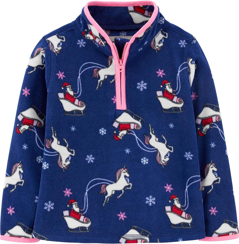 OshKosh B'Gosh Girl's Partial Zip Christmas Unicorn Fleece Pullover Cozie Jacket (4T, Blue Unicorn)
