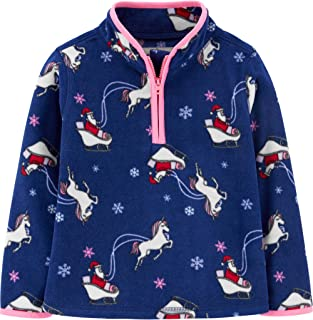 Carter's OshKosh B'Gosh Girl's Partial Zip Christmas Unicorn Fleece Pullover Cozie Jacket (3T, Blue Unicorn)