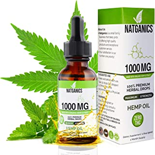 Sponsored Ad - Hemp Oil 1000mg for Pain, Anxiety, Stress & Joint Relief, Mood & Sleep Support, Natural Organic Tincture Oi...