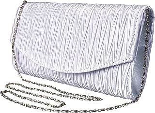 Womens Vintage Satin Pleated Envelope Evening Cocktail Wedding Party Handbag Clutch