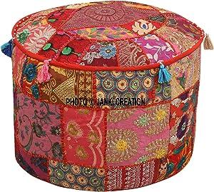 indischen rund Patchwork bestickt osmanischen Pouf Bohemian indischen Dekorative Patchwork osmanischen Pouf, Home Living Room Vintage Pouf Größe 35,6 x 55,9 x 55,9 cm