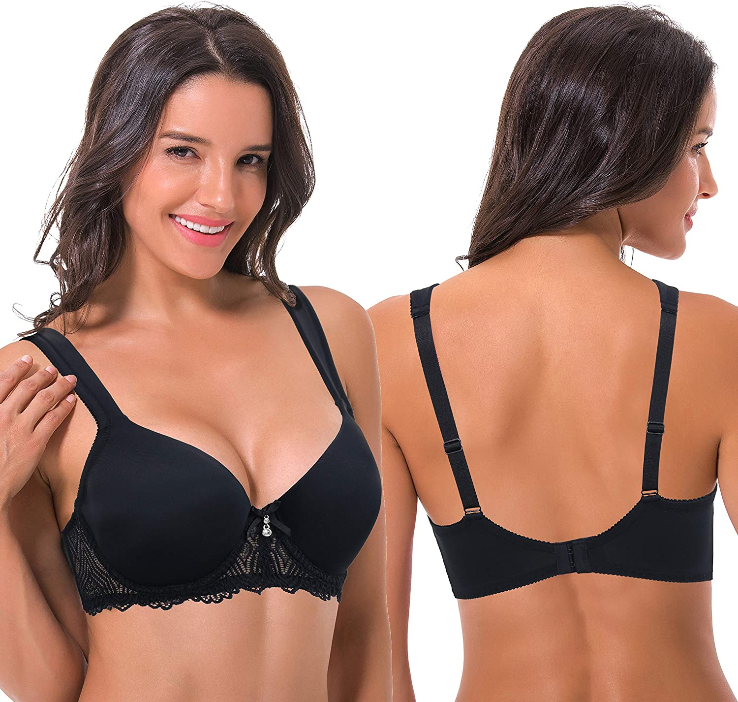 Curve Muse Womens Lightly Padded Underwire Lace Bra with Padded Shoulder Straps