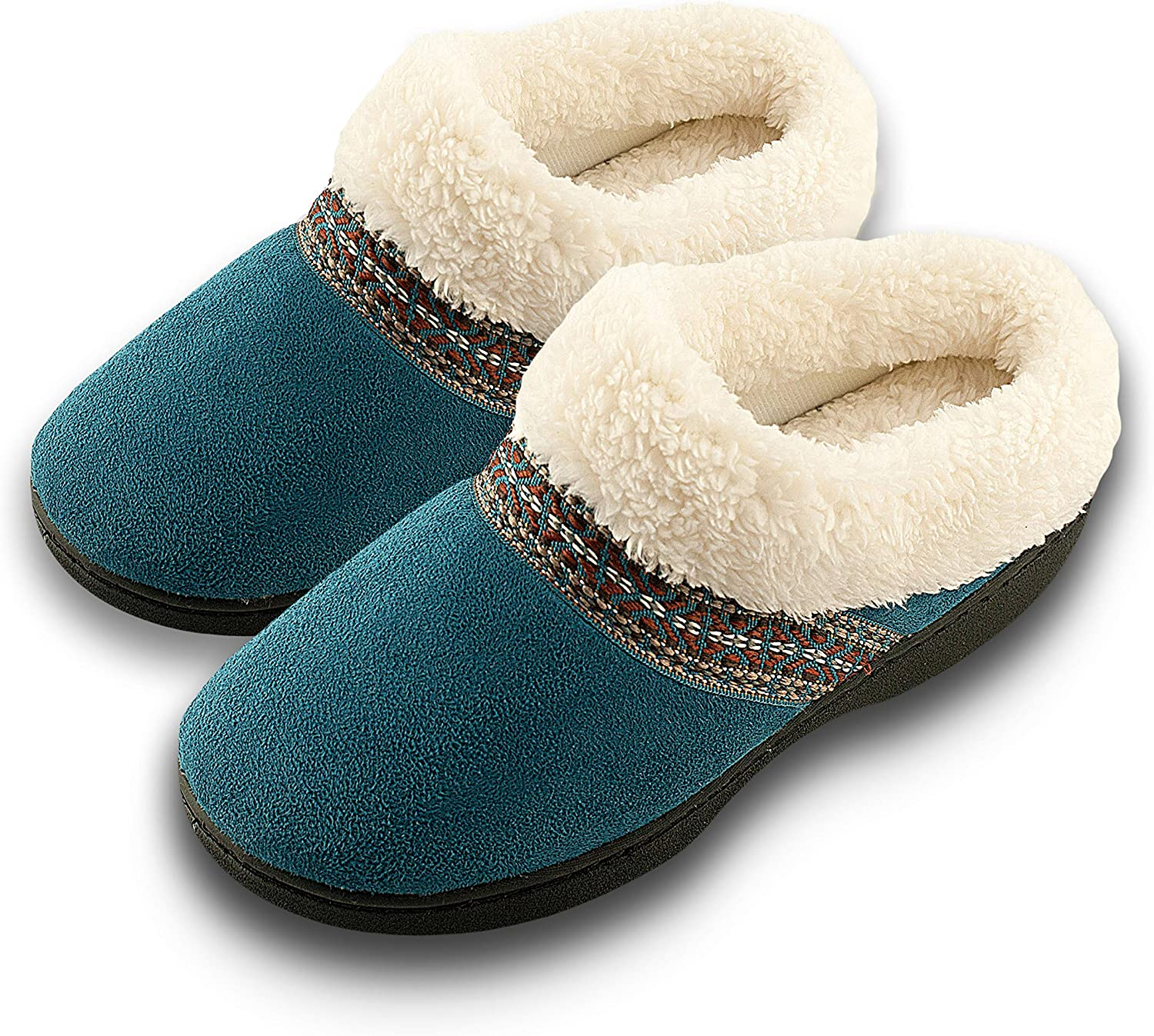 Roxoni Women's Winter Slippers; A Ladies Comfort and Cozy Clog Great for House and Outdoor Teal