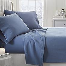 Simply Soft 4 Piece Flannel Sheet Set, California King, Light Navy