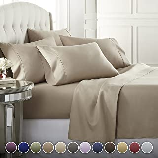 Danjor Linens 6 Piece Hotel Luxury Soft 1800 Series Premium Bed Sheets Set, Deep Pockets, Hypoallergenic, Wrinkle & Fade Resistant Bedding Set(Queen, Taupe)