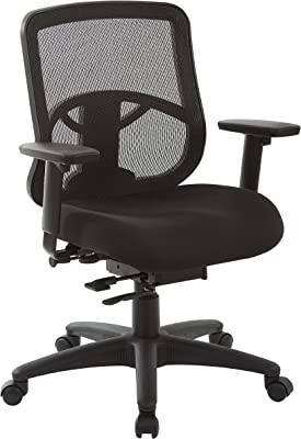 Office Star ProGrid Mesh Back and Padded Coal FreeFlex Seat, Adjustable Arms, Ratchet Back, Slider Seat, Nylon Base Adjustable Task Chair, Black