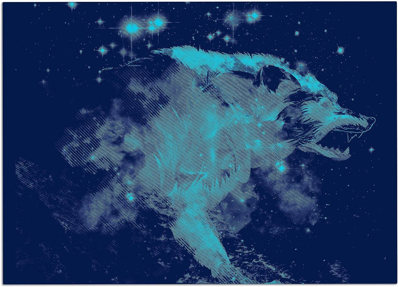 KESS InHouse FH1044ADM02 Federic LevyHadida Predation Instinct II bluee Wolf Dog Place Mat, 24  x 15