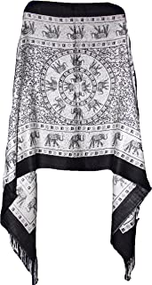 Highwaypay Elephant Design Shawl Pashmina Scarf Wrap Stole Throw Long Large Scarf Sarong Shawl Yoga Boho Indian Gypsy Hippie Floral Paisley Print 2384