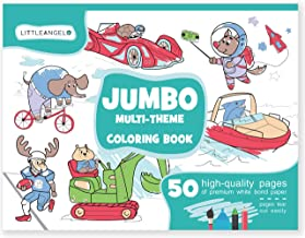 Jumbo Coloring Books for Kids Ages 4-8: 50 Coloring Pages - Giant Coloring Books for Kids and Toddlers - Coloring Pad for Boys Girls - Huge Coloring Book - Big coloring book - Animals Space Sports