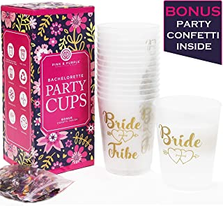 BACHELORETTE PARTY CUPS [Set of 15] + BONUS Confetti - Bride and Team Bride Tribe Cups for Bachelorette Party Decorations   She Said Yaaas + More   Bridal Shower Decorations and Hen Party Supplies