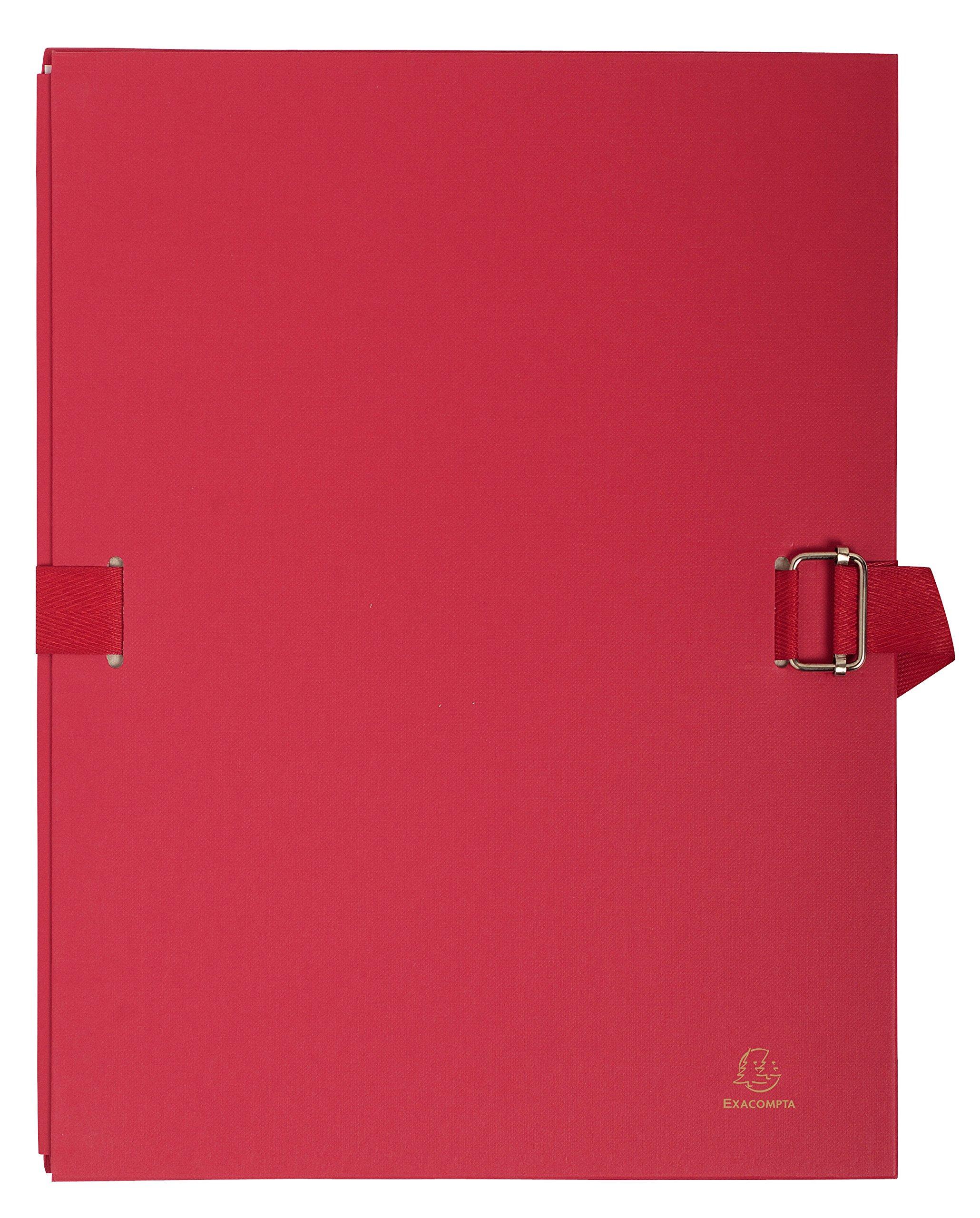 Exacompta Lot de 10 Chemises extensible Varia 2230 recouverte de papier grainé Rouge