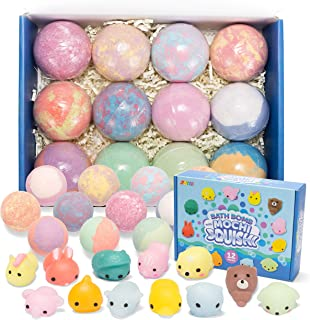 Bath Bombs for Kids with Mochi Squishy, 12 Pack Bubble Bath Bombs with Surprise Toy Inside, Natural Essential Oil SPA Bath...