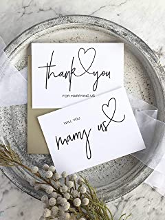 Will You Marry Us and Thank You For Marrying Us Wedding Officiant Card Set Black and White