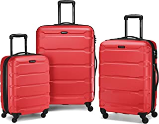 Samsonite Omni PC Hardside Expandable Luggage with Spinner Wheels, Red, 3-Piece Set (20/24/28)
