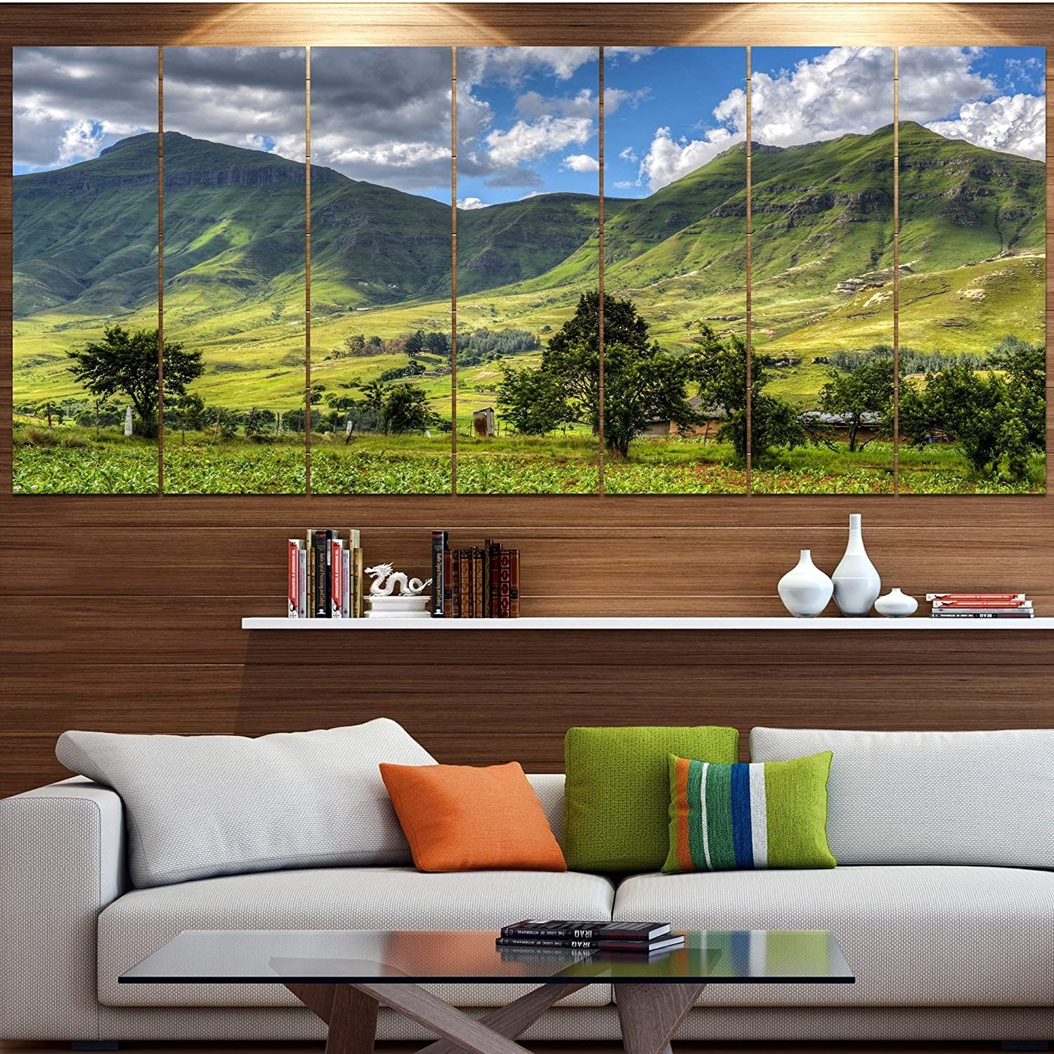 Design Art Designart Lesotho Mountains Panorama Landscape Wall Artwork 83 In Wide X 32 In High 7 Panels Posters Prints