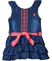 U.S. POLO ASSN. Kids Medium Blue Wash Denim with Embroidered & Lace Dress (Little Kids)