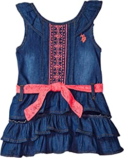 Medium Blue Wash Denim with Embroidered & Lace Dress (Little Kids)
