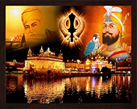 HandicraftStore Guru Gobind Singh ji and Guru nanak dev ji with Eagle, Golden Temple and Sikh Symbol Kandha, A Painting Poster with Frame, Must for Sikh Family Home/Office