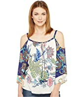 Hale Bob - Sonic Bloom Rayon Stretch Satin Woven Cold Shoulder Top