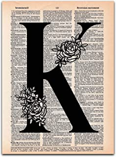 K - Monogrammed Gift - Dictionary Page Art Print, 8x11 UNFRAMED