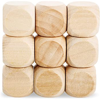 Unfinished Wooden Dice, Blank Square Blocks (0.75 in, 60-Pack)