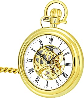 Stuhrling Original Mens Vintage Mechanical Pocket Watch - Stainless Steel Pocket Watch with Chain Analog Skeleton Watch Hand Wind Mechanical Watch with Clip and Stainless Steel Chain