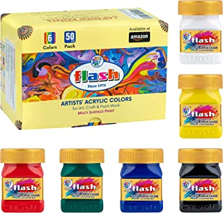 Flash Acrylic Paint Set | 6 Colors | 50 ml, 1.7 fl oz Each | High Pigment Strength | Non Fading | Indoor/Outdoor | Non Tox...