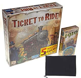 Days of Wonder's Ticket to Ride Board Game & Ticket to Ride: USA 1910 Expansion Bundle - Includes Convenient Velour Drawstring Storage Bag with Hickoryville Logo
