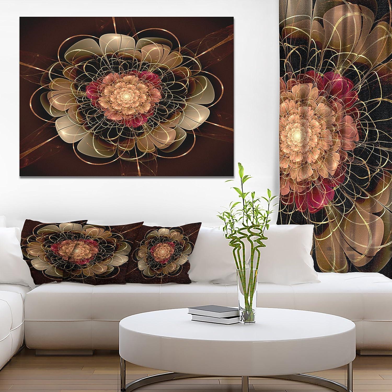 Designart Dark Gold Red Fractal Flower Pattern Wall Art 12 H X 20 W X 1 D 1p Posters Prints Amazon Com