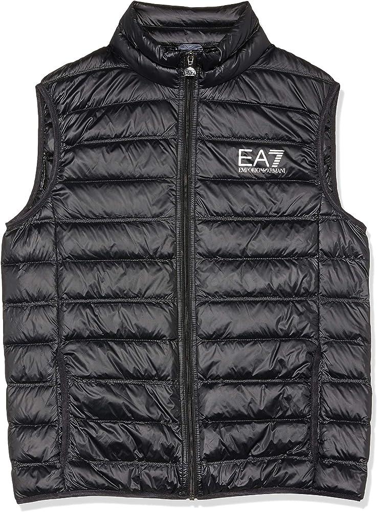 Emporio armani ea7 core logo zip down vest black,gilet per uomo,interno in piuma d`anatra 8NPQ01-1200