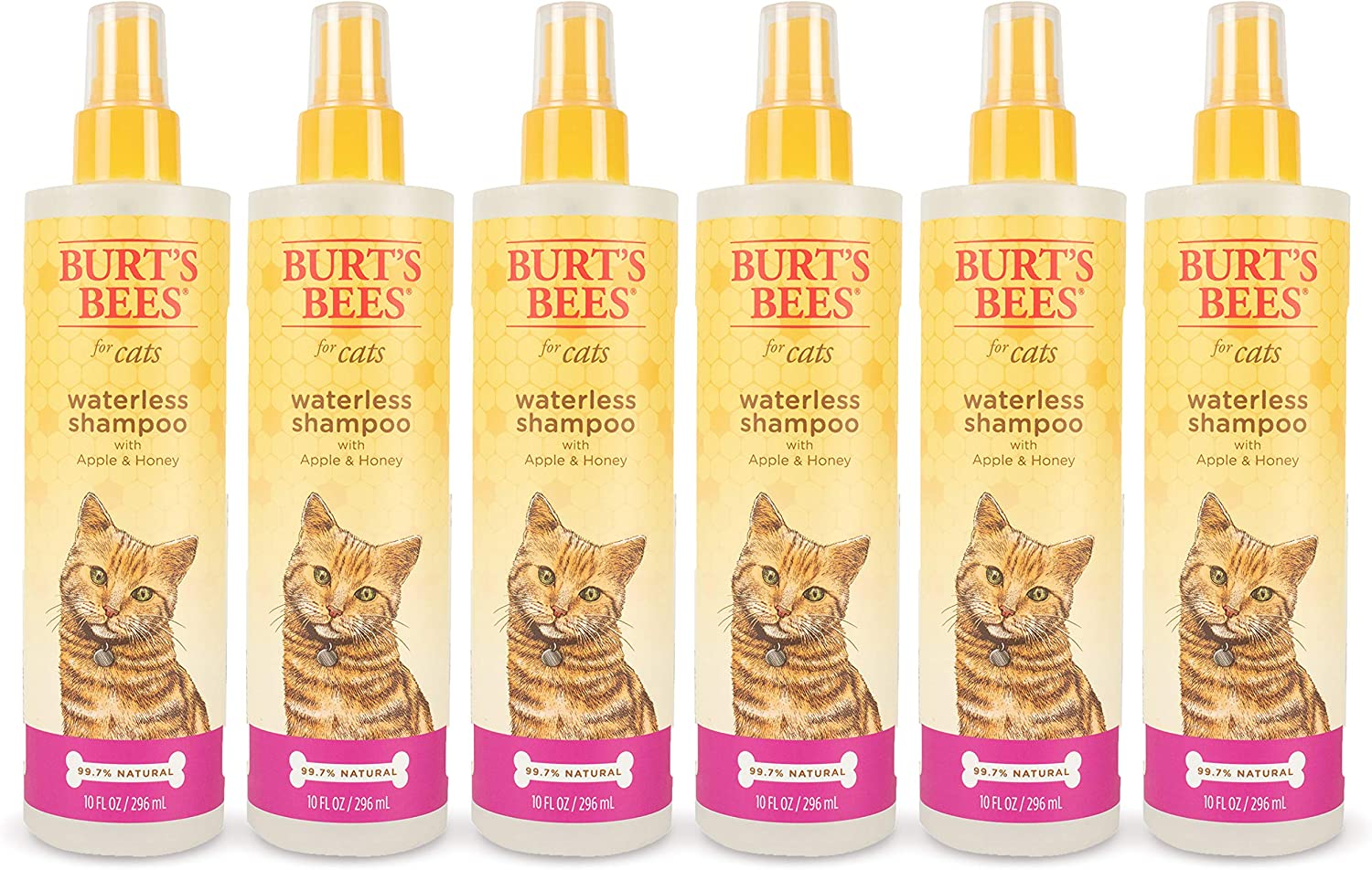 Burt's Bees for Cats Waterless Shampoo with Apple & Honey   Dry Shampoo for Cats   Waterless Cat Shampoo Spray   Cruelty Free, Sulfate & Paraben Free, pH Balanced for Cats, 10 Oz- 6 Pack : Pet Supplies