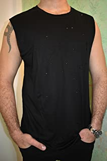 Men's Black Tank Top Sleeveless Shirt, Size S, Loose Fit Wide Training Sports Everyday Wear for Men, Casual Basic Clothing
