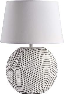 BRUBAKER Lampe de table ou de chevet blanche pied céramique finition mate bicolore - Hauteur 38 cm