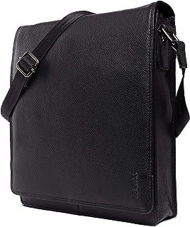 LEABAGS London Umhängetasche Schultertasche für 13 Zoll Tablets aus echtem Leder im Vintage Look, LxBxH ca. 26 x 8 x 31 cm - OnyxBlack