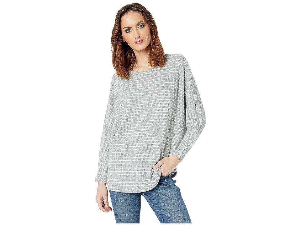 American Rose Inez Boat Neck Striped Sweater (Gray/White) Women