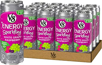 V8 +Energy Sparkling Healthy Energy Drink, Natural Energy from Tea, White Grape Raspberry, 12 Fl Oz (Pack of 12)
