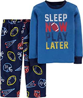 Image of Carters Blue Football Pajamas for Toddler Boys
