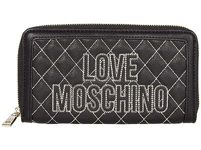 LOVE Moschino Stitched Love Wallet (Black PU/Black PU) Handbags
