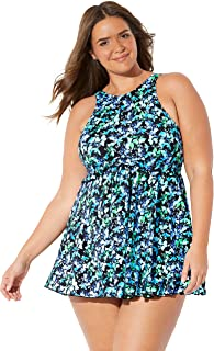Fit 4 U Swimsuits for All Women's Plus Size High-Neck Swimdress