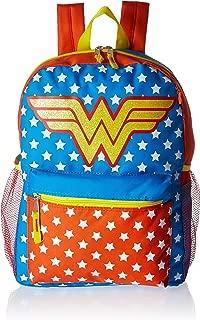 DC Super Hero Girls Girls' Dc Comics Wonder Woman 16 Inch Backpack 5pc Set, Red