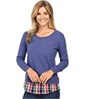 U.S. POLO ASSN. - Crew Neck Sweater Twofer Shirt with Plaid Hem