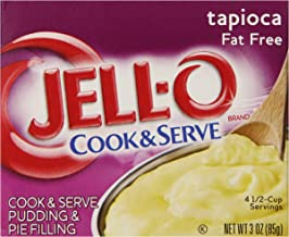 JELL-O Fat Free Tapioca Pudding & Pie Filling Mix (3 oz Boxes, Pack of 24)