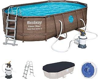 Bestway Power Steel Swim Vista Series Frame Pool Set Completo Ovalado con Filtro de Arena, Escalera de Seguridad y Lona 488 x 305 x 107 cm