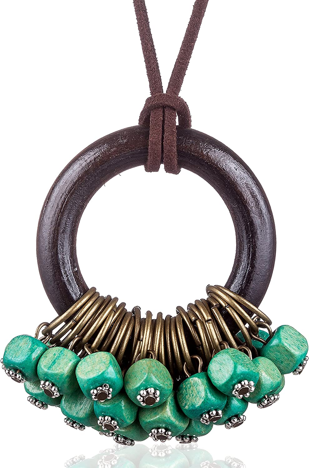 COOSTUFF ANNA Handmade Color Wood Beads Pendant Vintage Necklaces for Women Handmade Women Jewelry (Blue)