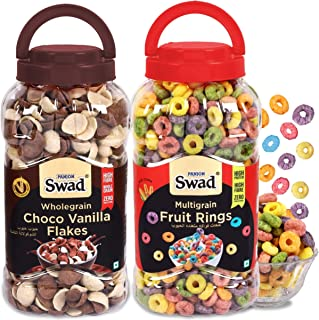Swad Fruit Rings & Choco Vanilla Flakes, Combo of 2 Jars (High Fibre Chocos & Fruit Loops Cereals) Jar, 630 g